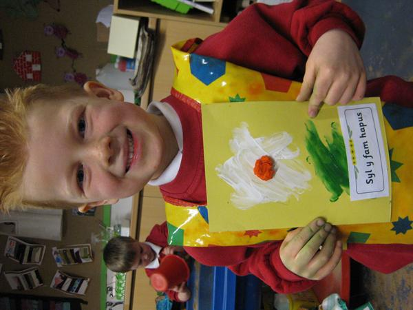 Daniel enjoyed making a welsh mother's day card