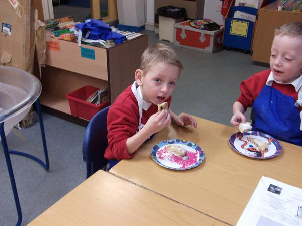 Tasting our Welsh cakes, they were delicious!