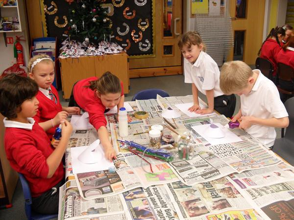 Year 3 making some decorations to sell