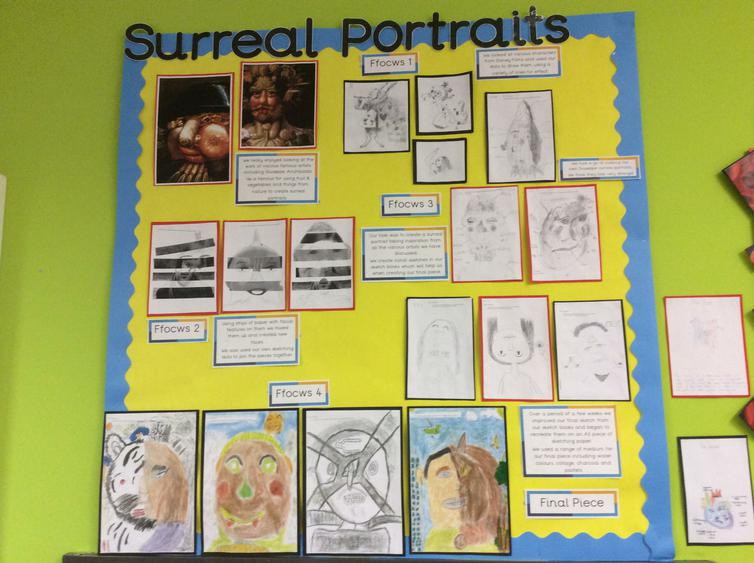 This term we've created surreal portraits.